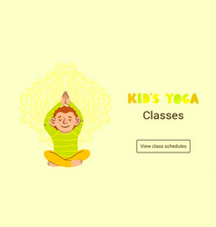 web banner template kids yoga classes vector image