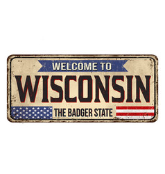 welcome to wisconsin vintage rusty metal sign vector image