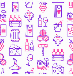 wine seamless pattern with thin line icons vector image