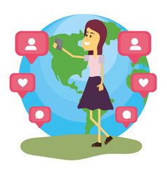 Woman on social networks vector