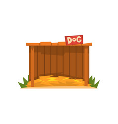 Wooden doghouse with straw litter vector