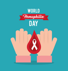 World hemophilia day hands drop blood card vector