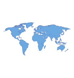 world map blue colored on a white background vector image