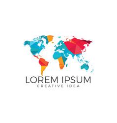 world map logo design vector image