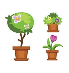 cartoon garden and houseplants vector image vector image