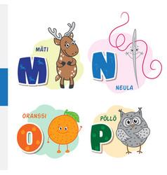 finnish alphabet roe needle orange owl vector image vector image