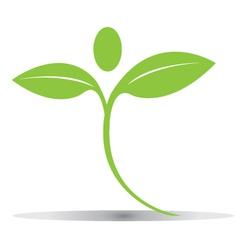 Green plant figure logo vector