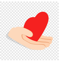 hand holding heart isometric icon vector image
