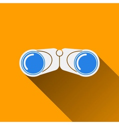 Modern Binocular Flat Icon with Long Shadow vector image