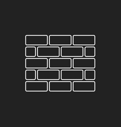 Wall brick icon in flat style isolated on black vector