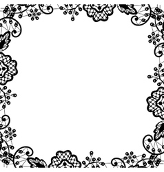 black lace on white background vector image