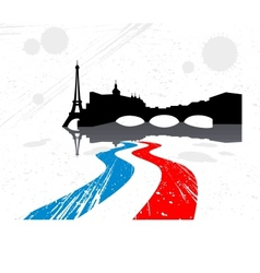 Detailed silhouette of the city of Paris vector image vector image