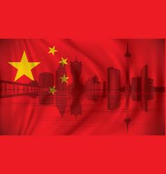 flag of china with macau skyline vector image vector image