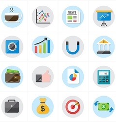 Flat Icons For Business Icons and Finance Icons vector image