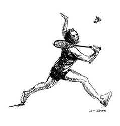 Hand sketch woman playing badminton vector image vector image