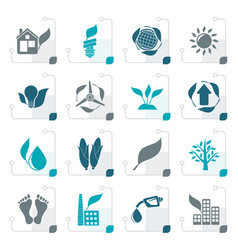 stylized environment and nature icons vector image vector image