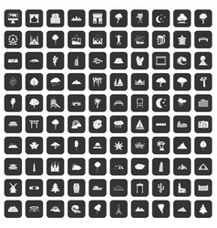 100 view icons set black vector image