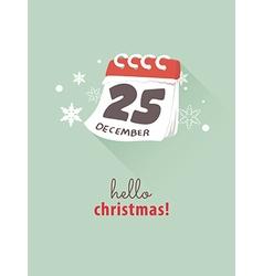 25th december on calendar for christmas concept vector
