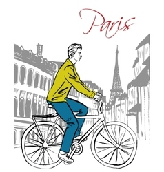 man driving bicycle vector image