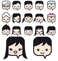 people faces icon set vector image vector image