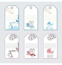 set baby gift card Hand drawn design vector image