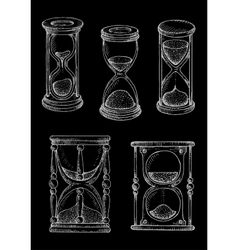 Vintage hourglasses chalk sketches set vector image vector image