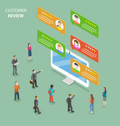 Customer review flat isometric concept vector