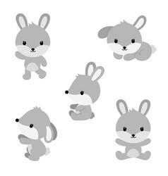 cute cartoon rabbits in flat style vector image