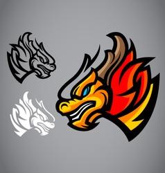 dragon gold head emblem logo vector image
