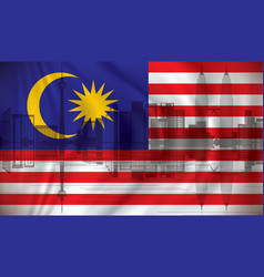flag of malaysia with kuala lumpur skyline vector image vector image