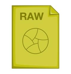 RAW file icon cartoon style vector image vector image