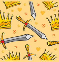 sword and crown pattern style vector image vector image