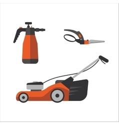 Watering sprayer and garden secateurs vector image vector image