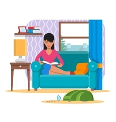 Woman reading book on sofa while vacuum cleaner vector image vector image