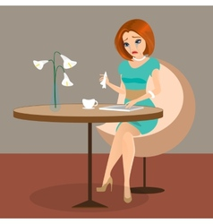 Young elegant woman is crying in the cafe using a vector image
