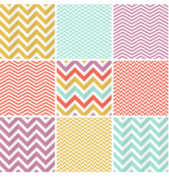 9 seamless zigzag patterns vector image