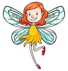 A simple sketch of a young fairy vector image