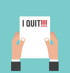 And holding envelope with text i quit job vector