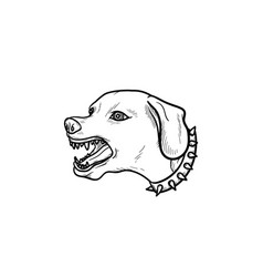 angry dog with teeth hand drawn outline doodle vector image
