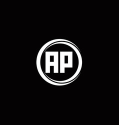 Ap logo initial letter monogram with circle slice vector