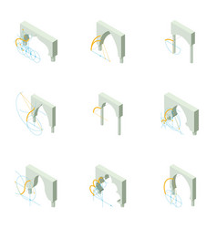 Arch project icons set isometric style vector