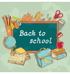 Back to school board card with various study items vector image