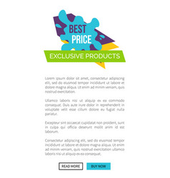 best price exclusive products website allows to vector image