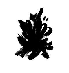 black brushstrokes hand drawn vector image