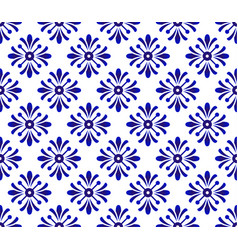 Blue floral seamless pattern vector