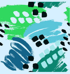Blue green hand drawn paint lines seamless pattern vector