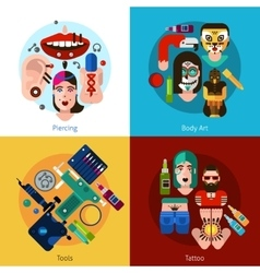 Bodyart Tattoo Piercing 2x2 Set vector image