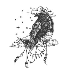 Boho raven tattoo or t-shirt print design vector