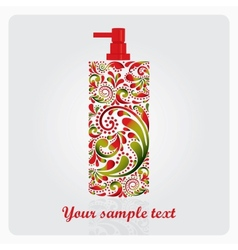 Bottle of lotion made of the leaf pattern vector