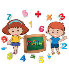 Boy and girl with many numbers vector